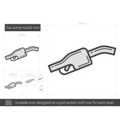 Gas pump nozzle line icon vector