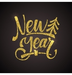 Golden shiny glitter calligraphy greeting poster vector