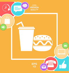 hamburger or cheeseburger paper cup with drinking vector image vector image