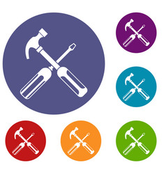 hammer and screwdriver icons set vector image vector image