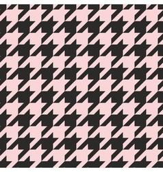 Houndstooth tile pastel pink and black pattern vector image