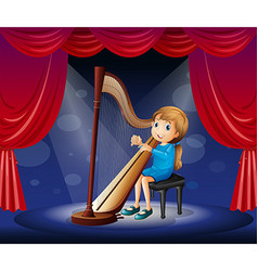Little girl playing harp on stage vector