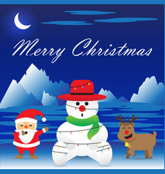 Merry christmas - snowman is bound by christmas vector