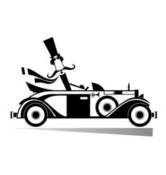 Mustache man drives a retro car isolated vector