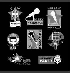Night karaoke club isolated monochrome promo vector