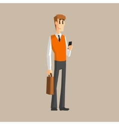 Office worker with cell phone vector