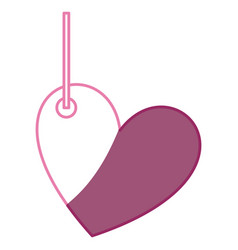 Pink color silhouette love heart figure hanging vector