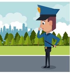 Policeman at the city cartoon vector