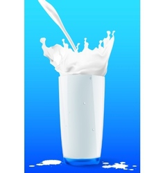 Pouring milk in a glass on blue background vector