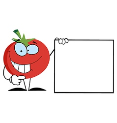 Red Tomato Presenting A Blank Sign vector image vector image