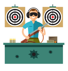 Shooting range flat style colorful cartoon vector