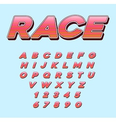 Speed racing sport italic font with letters and vector