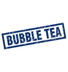Square grunge blue bubble tea stamp vector