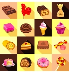 Sweets chocolate and cakes icons set flat style vector