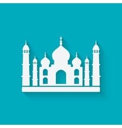 Taj mahal on blue background vector