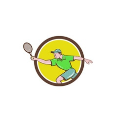 Tennis Player Racquet Forehand Circle Cartoon vector image vector image