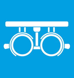 Trial frame for checking patient vision icon white vector