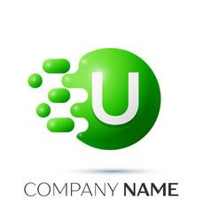 U letter splash logo green dots and circle bubble vector