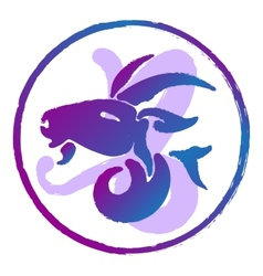 Zodiac sign capricorn watercolor vector