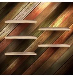 Empty shelf for exhibit on wood background EPS 10 vector image
