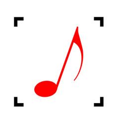 music note sign  red icon inside black vector image