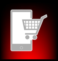 Shopping on smart phone sign postage stamp or old vector