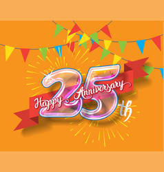 Happy 25th anniversary glass bulb numbers set vector