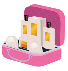 Pink suitcase with perfume and cosmetics inside vector