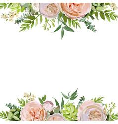 Floral design square card design soft pink peach vector