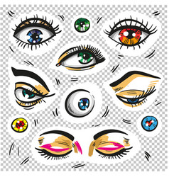 eyes fashion stickers patch badges isolated vector image