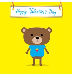 Cute bear happy valentines day card vector