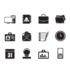 Silhouette web applications and office icons vector