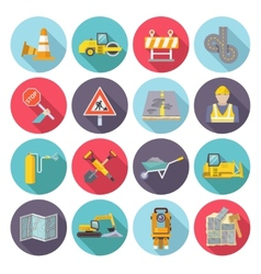 Road worker flat icons vector