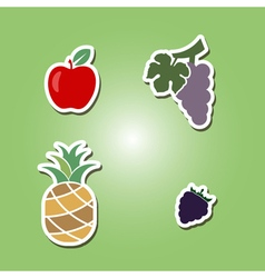Set of color icons with fruits vector