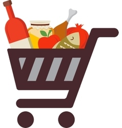 Shopping cart with rosh hashanah traditional food vector