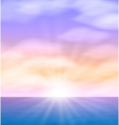 Sea sunset with bright sun light on lens eps10 vector