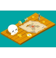 Isometric pirate treasure adventure game rpg map vector