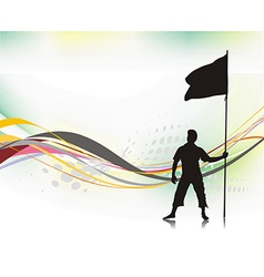 Man holding a flag vector