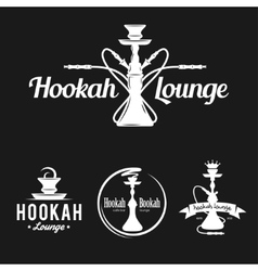 Set of hookah labels badges and design elements vector