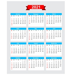 2021 calendar week start sunday vector