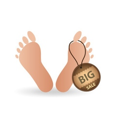 Big sale tag label on human foot eps10 vector