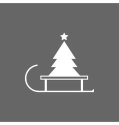 christmas tree on a sled vector image