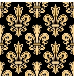 Golden french fleur-de-lis seamless pattern vector