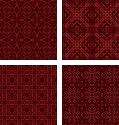 Maroon seamless mosaic background set vector