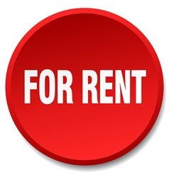 For rent red round flat isolated push button vector