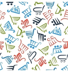 Colorful shopping carts seamless pattern vector image