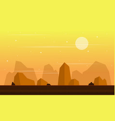 At sunset cliff scenery game background vector