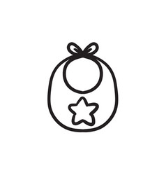 Baby bib sketch icon vector