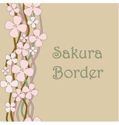 Blooming sakura vintage seamless border vector image vector image