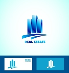 Blue real estate logo icon vector